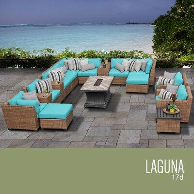 Laguna Outdoor Wicker 17 Piece Rattan Sectional Set Cushion Color: Aruba