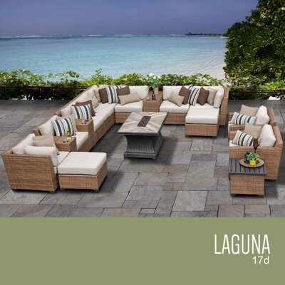 Laguna Outdoor Wicker 17 Piece Rattan Sectional Set Cushion Color: Beige