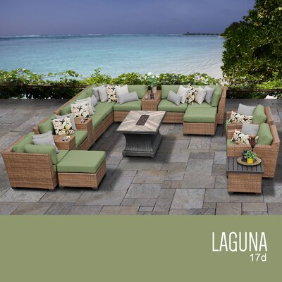 Laguna Outdoor Wicker 17 Piece Rattan Sectional Set Cushion Color: Cilantro