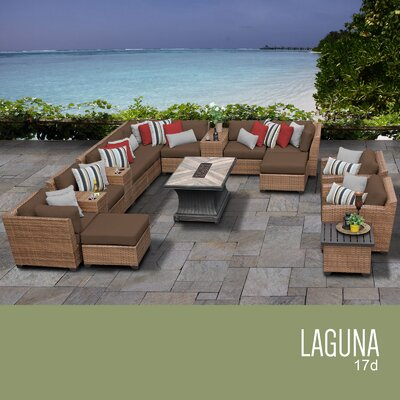 Laguna Outdoor Wicker 17 Piece Rattan Sectional Set Cushion Color: Cocoa
