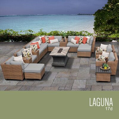 Laguna Outdoor Wicker 17 Piece Rattan Sectional Set Cushion Color: Gray