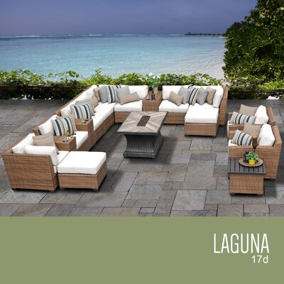 Laguna Outdoor Wicker 17 Piece Rattan Sectional Set Cushion Color: Sail White