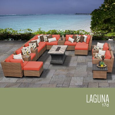 Laguna Outdoor Wicker 17 Piece Rattan Sectional Set Cushion Color: Tangerine