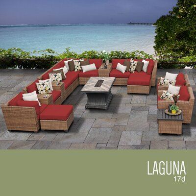 Laguna Outdoor Wicker 17 Piece Rattan Sectional Set Cushion Color: Terracotta