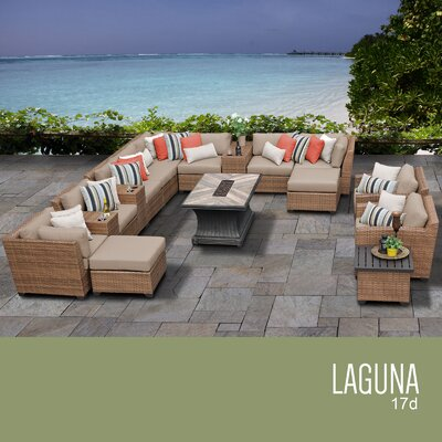 Laguna Outdoor Wicker 17 Piece Rattan Sectional Set Cushion Color: Wheat