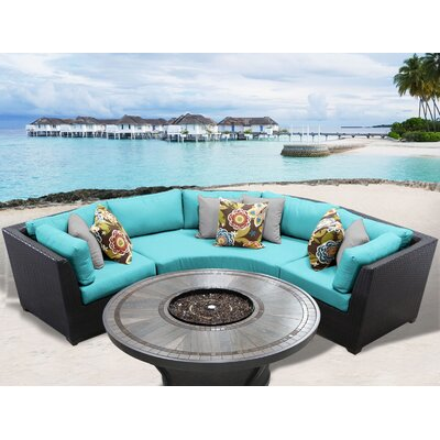 Barbados Outdoor 4 Piece Wicker Sectional Set with Cushions Cushion Color: Aruba