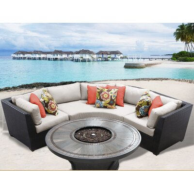 Barbados Outdoor 4 Piece Wicker Sectional Set with Cushions Cushion Color: Beige
