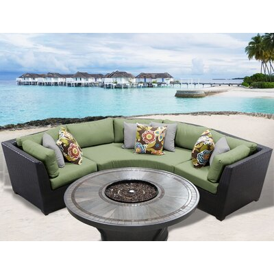 Barbados Outdoor 4 Piece Wicker Sectional Set with Cushions Cushion Color: Cilantro