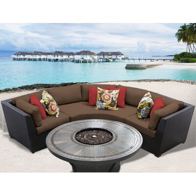 Barbados Outdoor 4 Piece Wicker Sectional Set with Cushions Cushion Color: Cocoa