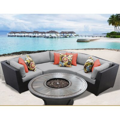 Barbados Outdoor 4 Piece Wicker Sectional Set with Cushions Cushion Color: Gray