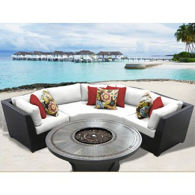Barbados Outdoor 4 Piece Wicker Sectional Set with Cushions Cushion Color: Sail White