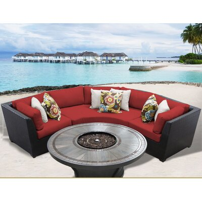 Barbados Outdoor 4 Piece Wicker Sectional Set with Cushions Cushion Color: Terracotta