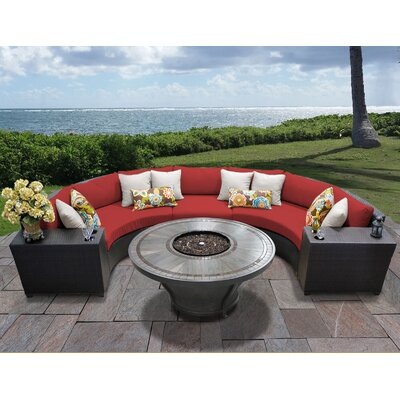 Barbados Outdoor 6 Piece Wicker Sectional Set with Cushions Cushion Color: Terracotta