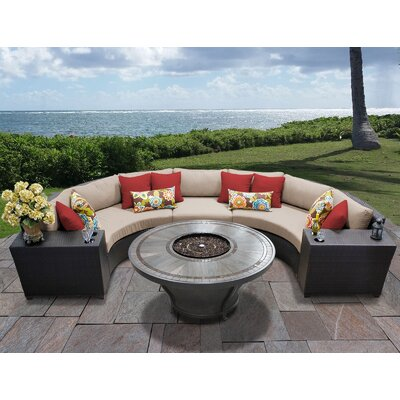 Barbados Outdoor 6 Piece Wicker Sectional Set with Cushions Cushion Color: Wheat