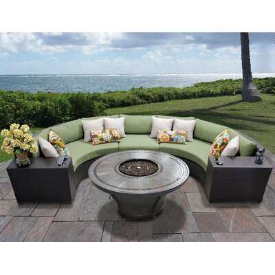 Barbados Outdoor 6 Piece Wicker Sectional Set with Cushions Cushion Color: Cilantro
