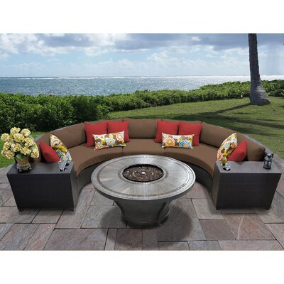 Barbados Outdoor 6 Piece Wicker Sectional Set with Cushions Cushion Color: Cocoa
