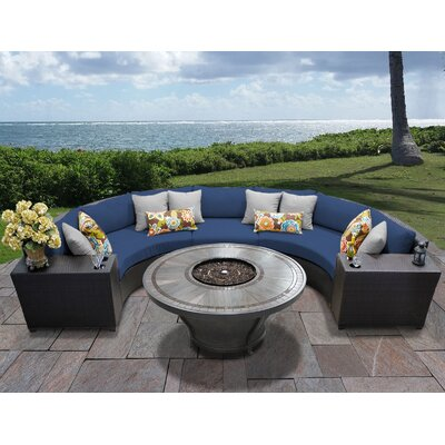 Barbados Outdoor 6 Piece Wicker Sectional Set with Cushions Cushion Color: Navy