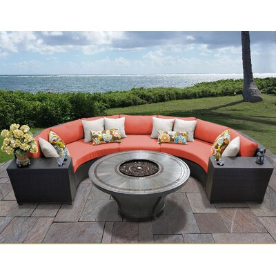 Barbados Outdoor 6 Piece Wicker Sectional Set with Cushions Cushion Color: Tangerine
