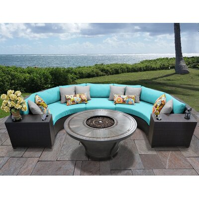 Barbados Outdoor 6 Piece Wicker Sectional Set with Cushions Cushion Color: Aruba