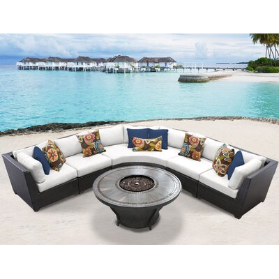Barbados Outdoor 6 Piece Wicker Sectional Set with Cushions Cushion Color: Sail White