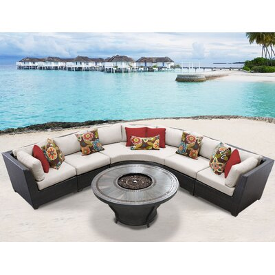 Barbados Outdoor 6 Piece Wicker Sectional Set with Cushions Cushion Color: Beige