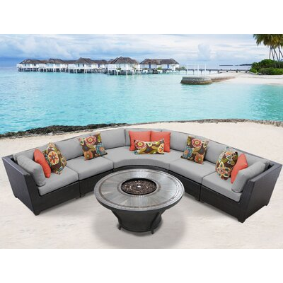 Barbados Outdoor 6 Piece Wicker Sectional Set with Cushions Cushion Color: Gray