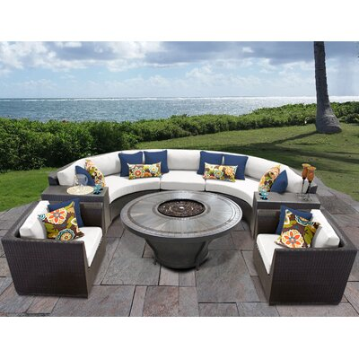 Barbados Outdoor 8 Piece Wicker Sofa Set with Cushions Cushion Color: Sail White