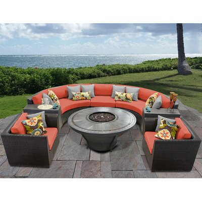 Barbados Outdoor 8 Piece Wicker Sofa Set with Cushions Cushion Color: Tangerine