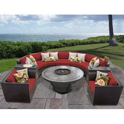 Barbados Outdoor 8 Piece Wicker Sofa Set with Cushions Cushion Color: Terracotta