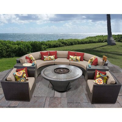 Barbados Outdoor 8 Piece Wicker Sofa Set with Cushions Cushion Color: Wheat