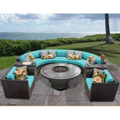 Barbados Outdoor 8 Piece Wicker Sofa Set with Cushions Cushion Color: Aruba