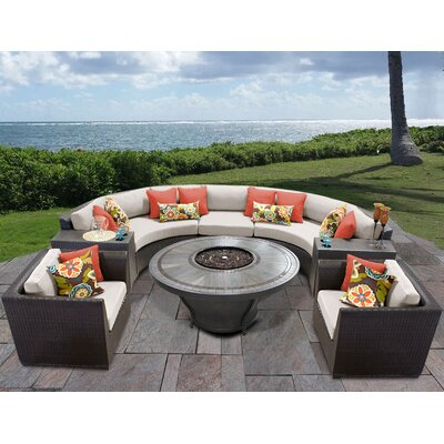 Barbados Outdoor 8 Piece Wicker Sofa Set with Cushions Cushion Color: Beige