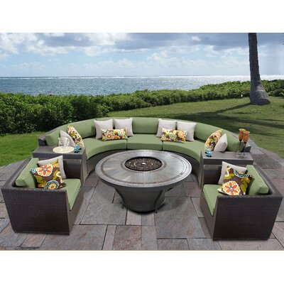 Barbados Outdoor 8 Piece Wicker Sofa Set with Cushions Cushion Color: Cilantro