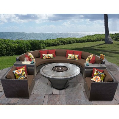 Barbados Outdoor 8 Piece Wicker Sofa Set with Cushions Cushion Color: Cocoa