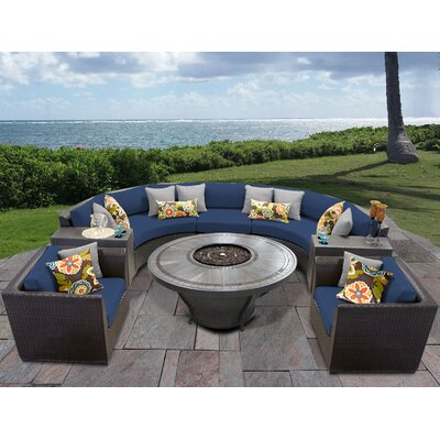 Barbados Outdoor 8 Piece Wicker Sofa Set with Cushions Cushion Color: Navy