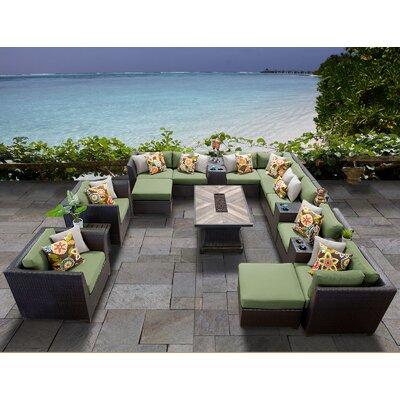 Barbados Outdoor 17 Piece Wicker Conversation Set with Cushions Cushion Color: Cilantro