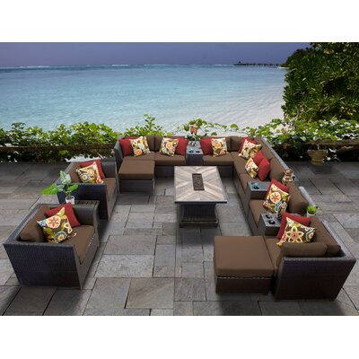 Barbados Outdoor 17 Piece Wicker Conversation Set with Cushions Cushion Color: Cocoa