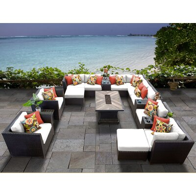 Barbados Outdoor 17 Piece Wicker Conversation Set with Cushions Cushion Color: Sail White