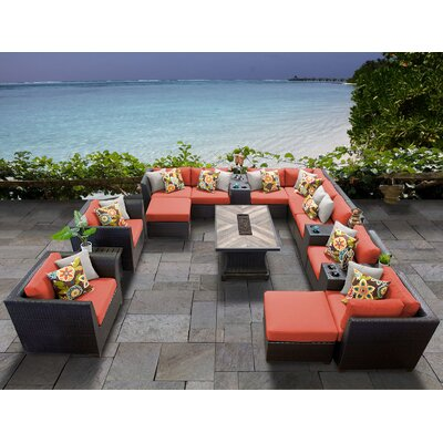Barbados Outdoor 17 Piece Wicker Conversation Set with Cushions Cushion Color: Tangerine