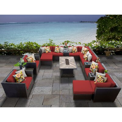 Barbados Outdoor 17 Piece Wicker Conversation Set with Cushions Cushion Color: Terracotta