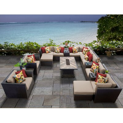 Barbados Outdoor 17 Piece Wicker Conversation Set with Cushions Cushion Color: Wheat