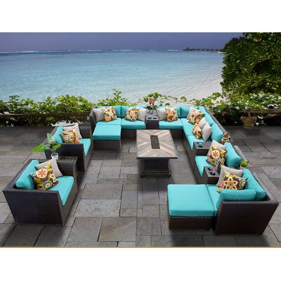 Barbados Outdoor 17 Piece Wicker Conversation Set with Cushions Cushion Color: Aruba