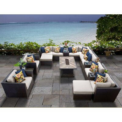 Barbados Outdoor 17 Piece Wicker Conversation Set with Cushions Cushion Color: Beige