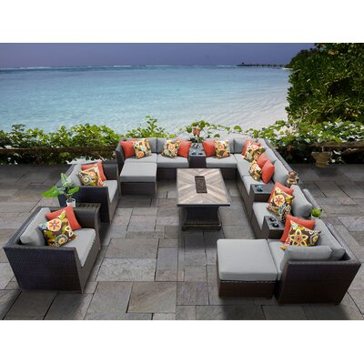 Barbados Outdoor 17 Piece Wicker Conversation Set with Cushions Cushion Color: Gray