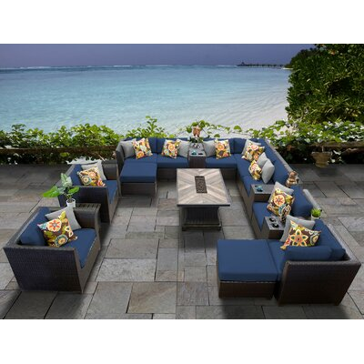 Barbados Outdoor 17 Piece Wicker Conversation Set with Cushions Cushion Color: Navy