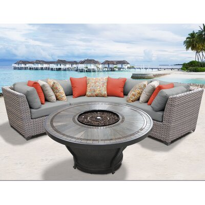 Florence Outdoor 4 Piece Wicker Sectional Set with Cushions Cushion Color: Gray
