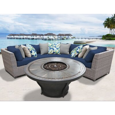 Florence Outdoor 4 Piece Wicker Sectional Set with Cushions Cushion Color: Navy