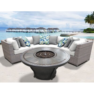 Florence Outdoor 4 Piece Wicker Sectional Set with Cushions Cushion Color: Sail White