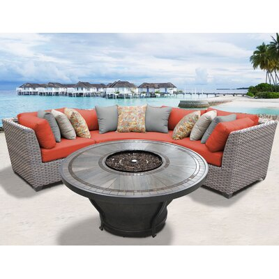 Florence Outdoor 4 Piece Wicker Sectional Set with Cushions Cushion Color: Tangerine