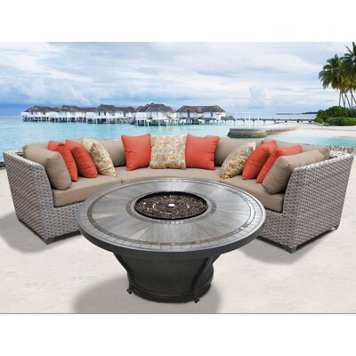 Florence Outdoor 4 Piece Wicker Sectional Set with Cushions Cushion Color: Wheat